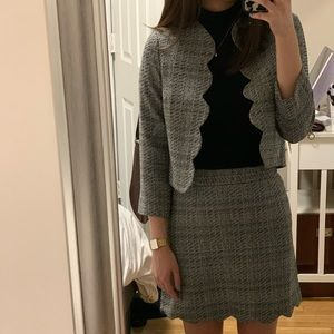 Plaid Knit Scalloped Blazer and Skirt Two Piece